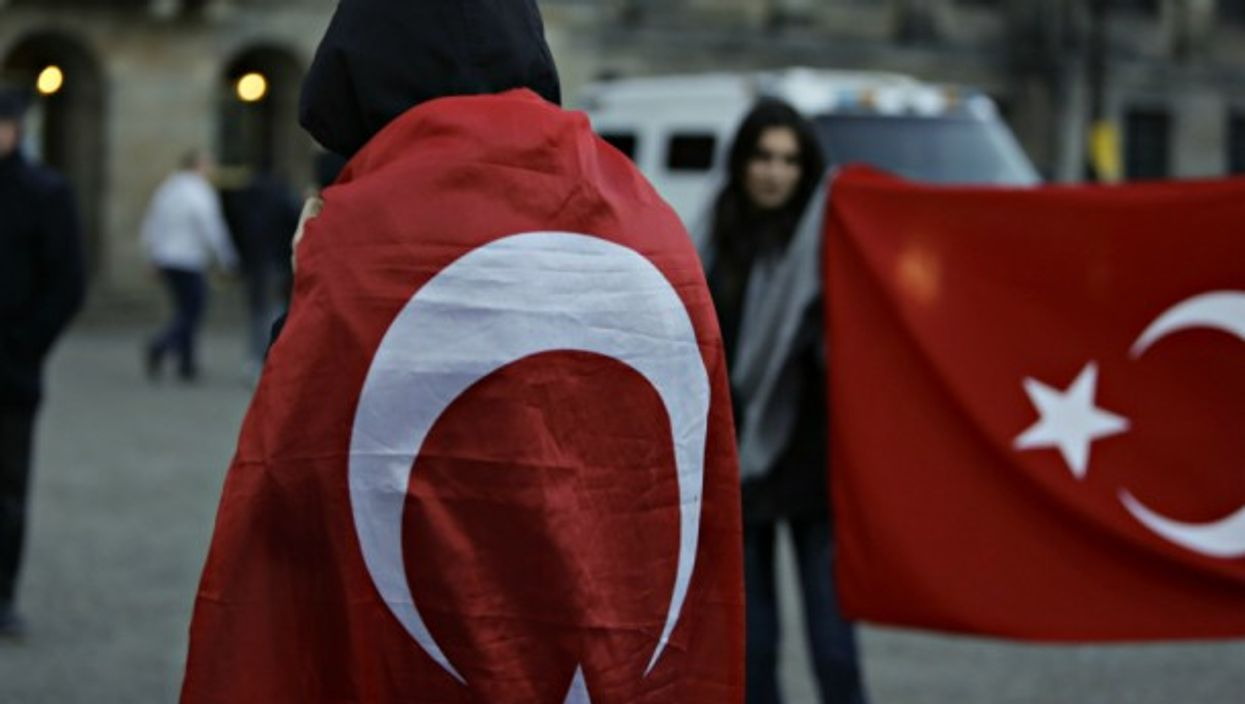 Turkish protesters in Amsterdam on March 13