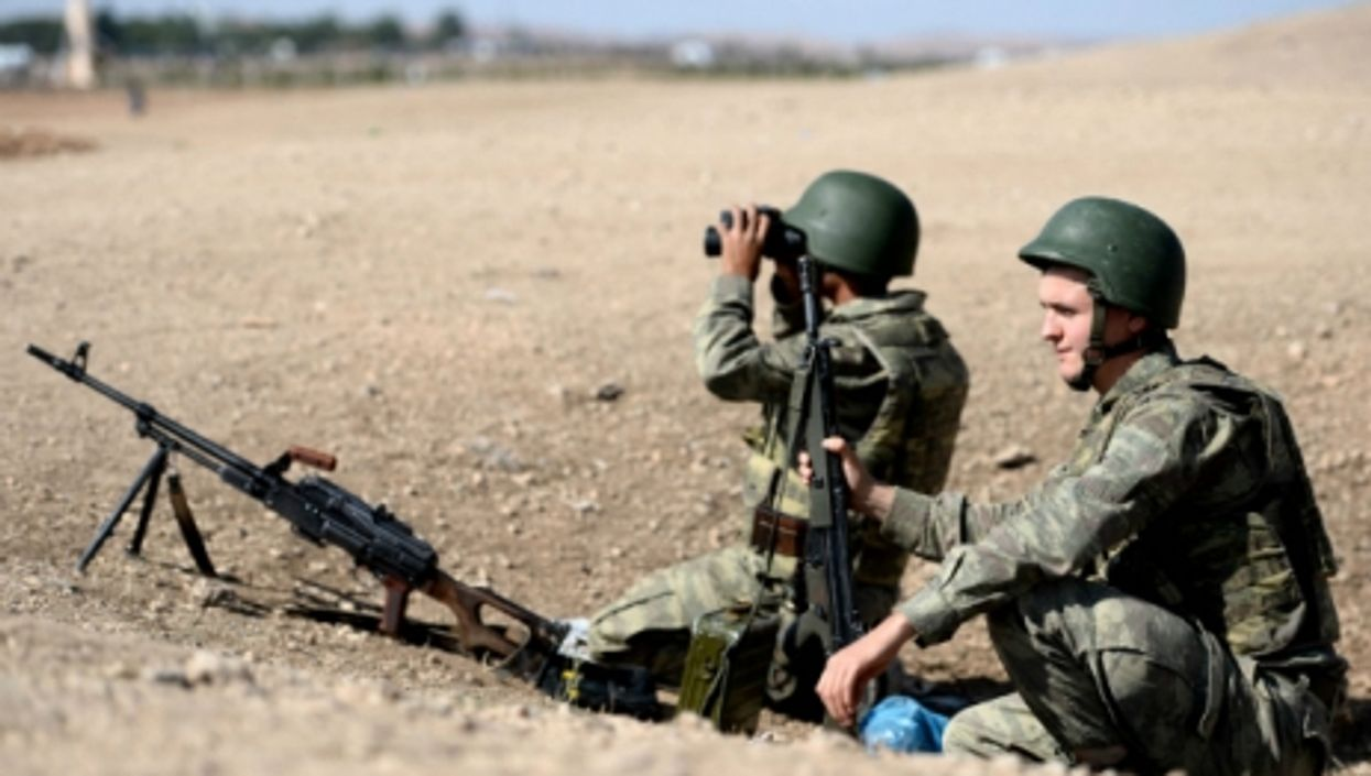 Turkish soldiers at the Syrian border in October