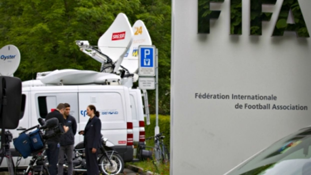 TV crews in front of FIFA's HQ in Zurich on May 27