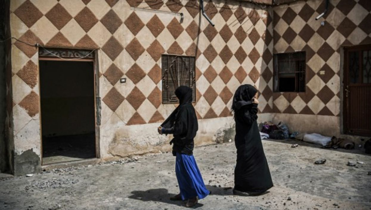 Two young women in Raqqa