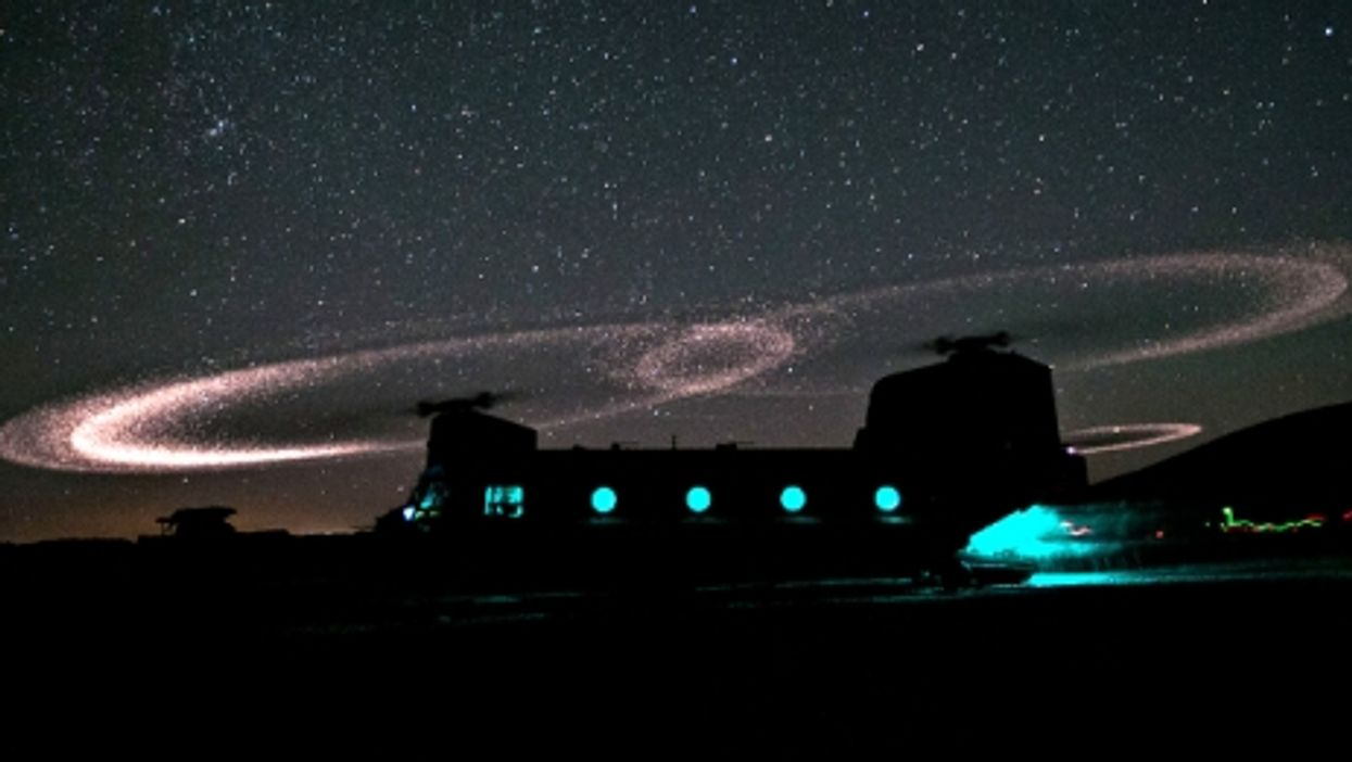 U.S. helicopter under the night sky near Kabul, Afghanistan
