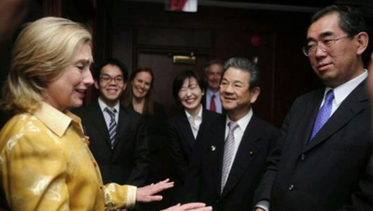 U.S. Secretary of State Hillary Clinton with Japanese Foreign Minister Matsumoto and Defense Minister Kitazawa