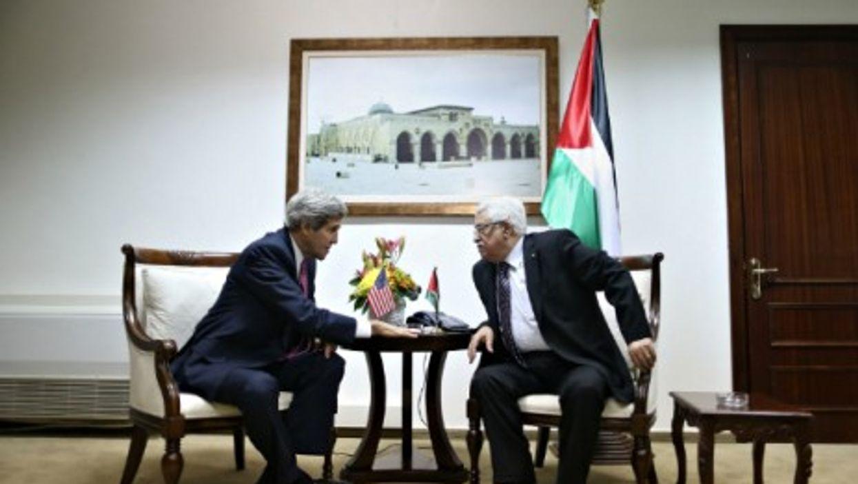 U.S. Secretary of State John Kerry and Palestinian President Mahmud Abbas in Ramallah on Jan. 4, 2014