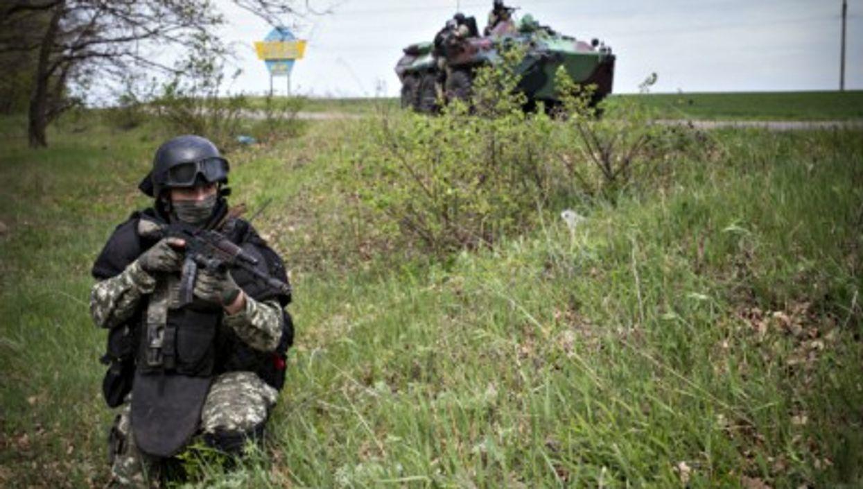 Ukraine forces near Sloviansk in April 2014