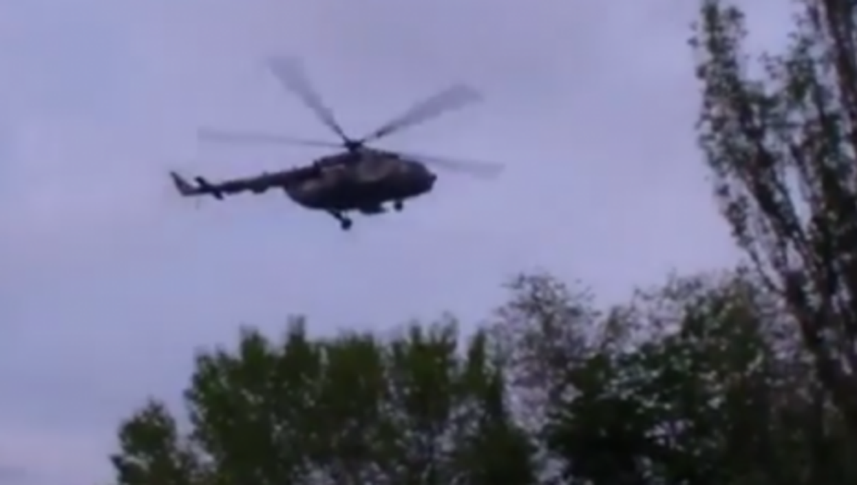 Ukrainian helicopter before being shot down