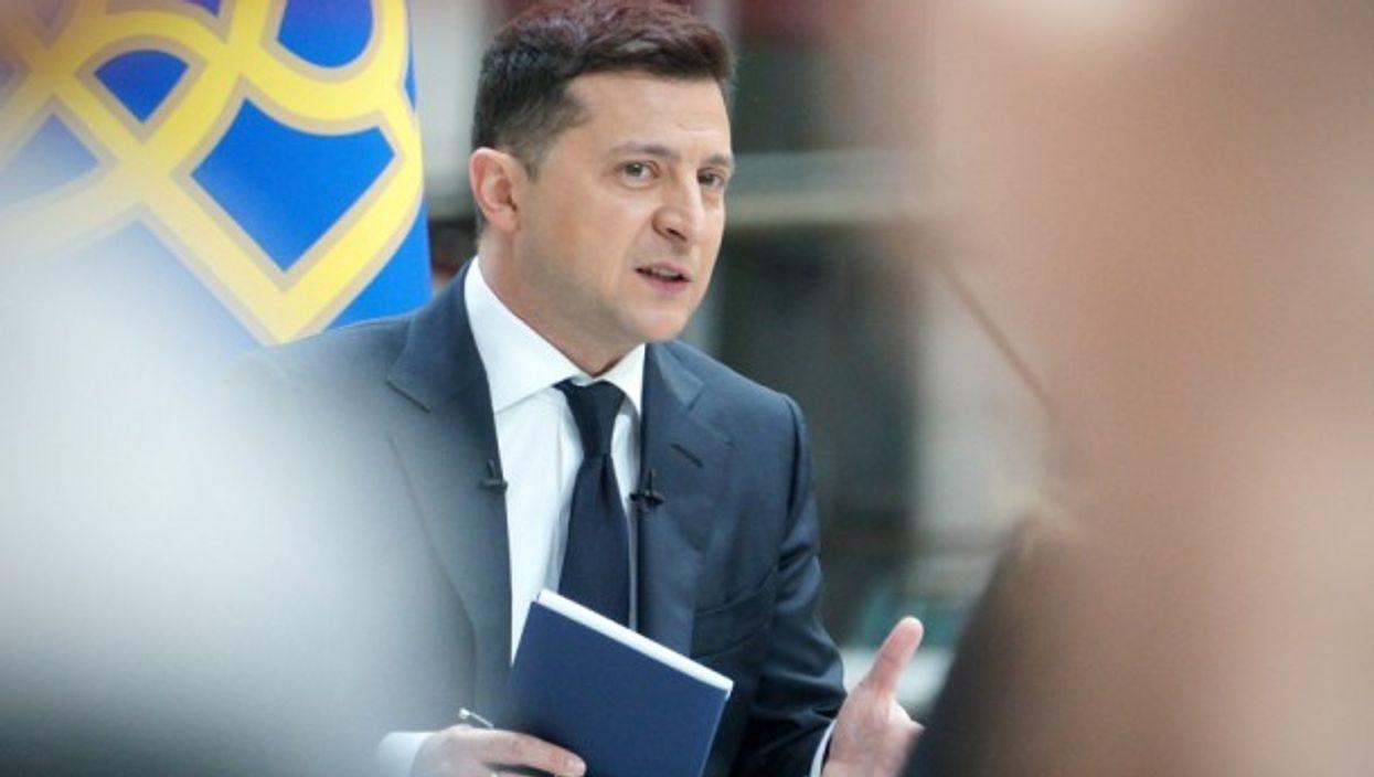Ukrainian President Volodymyr Zelensky at a news conference in Kiev, Ukraine