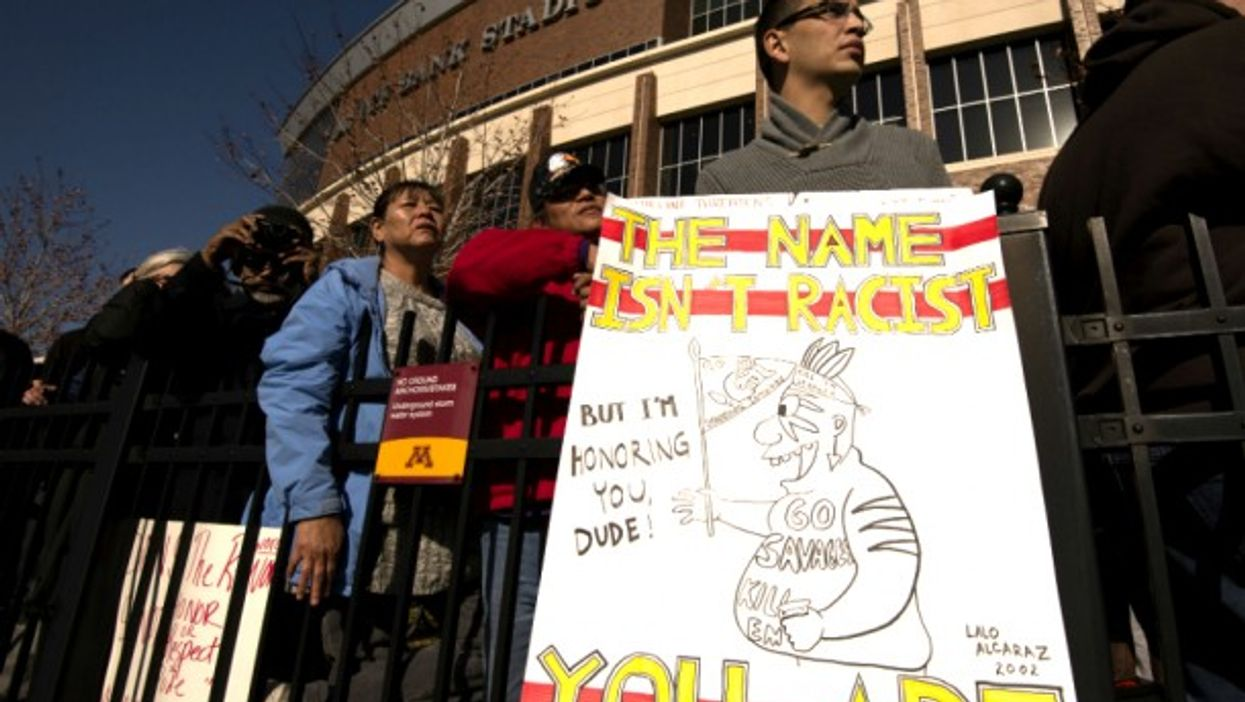UM Students protest the name and mascot of the Washington Redskins