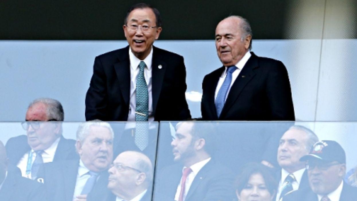 UN Secretary General Ban Ki-moon and FIFA President Joseph Blatter in Sao Paulo in June 2014