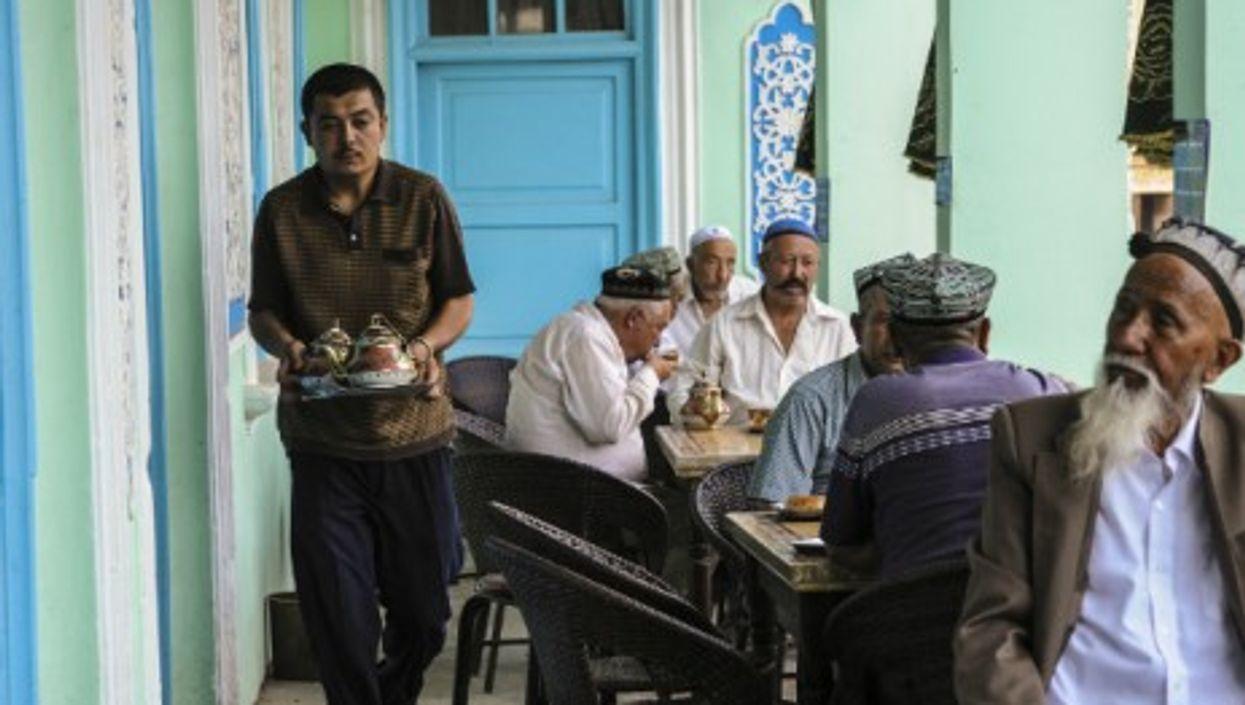 Uyghur men drinking tea in China's Kashgar