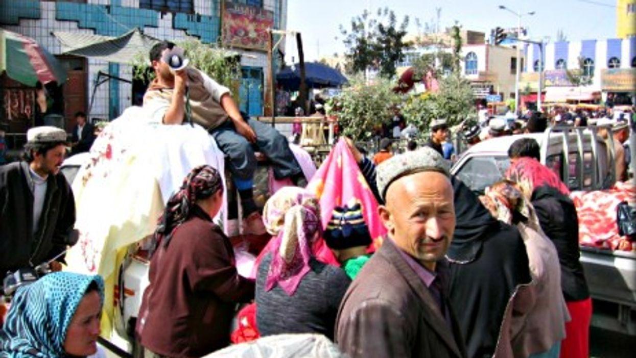 Uyghurs at a market