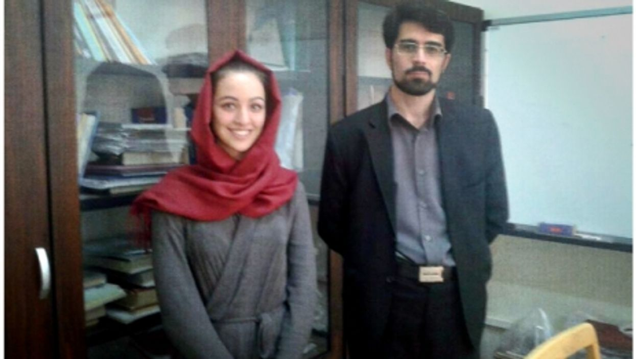 Valentina Simeone and one of her teachers at Tehran University