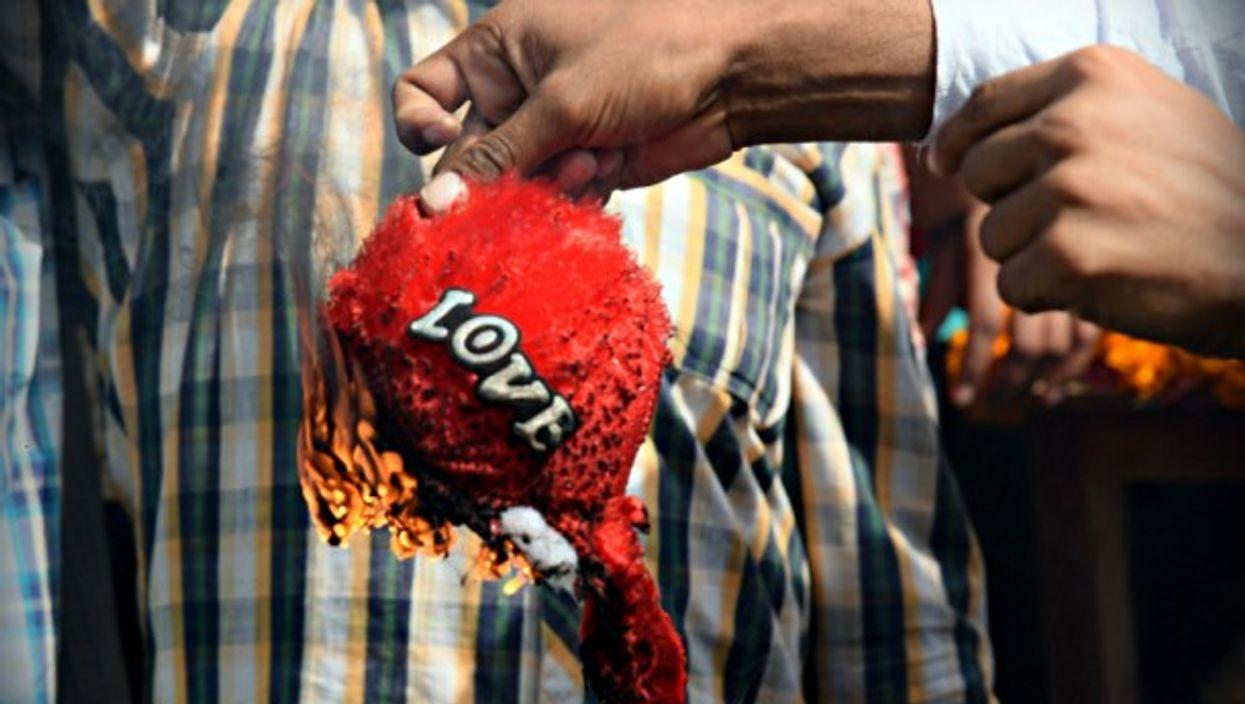 Valentine's Day 2016 protests in Bikaner, India