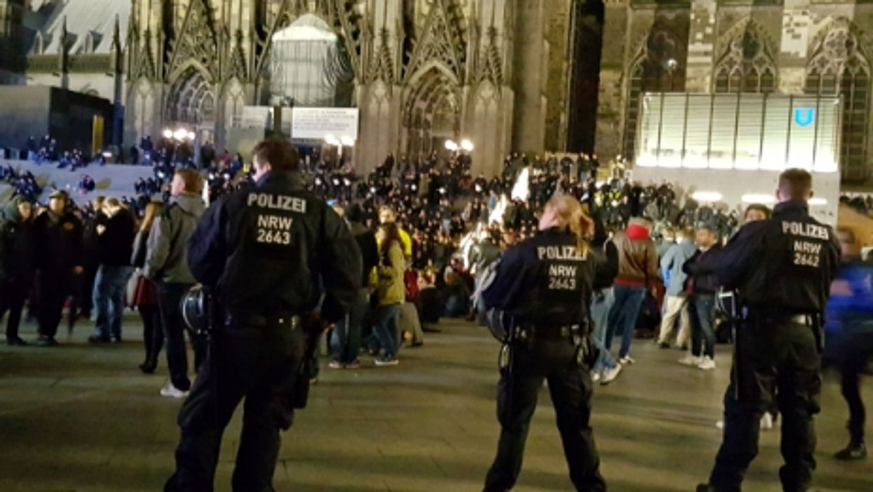 Various protests for and against refugees in Cologne, Germany