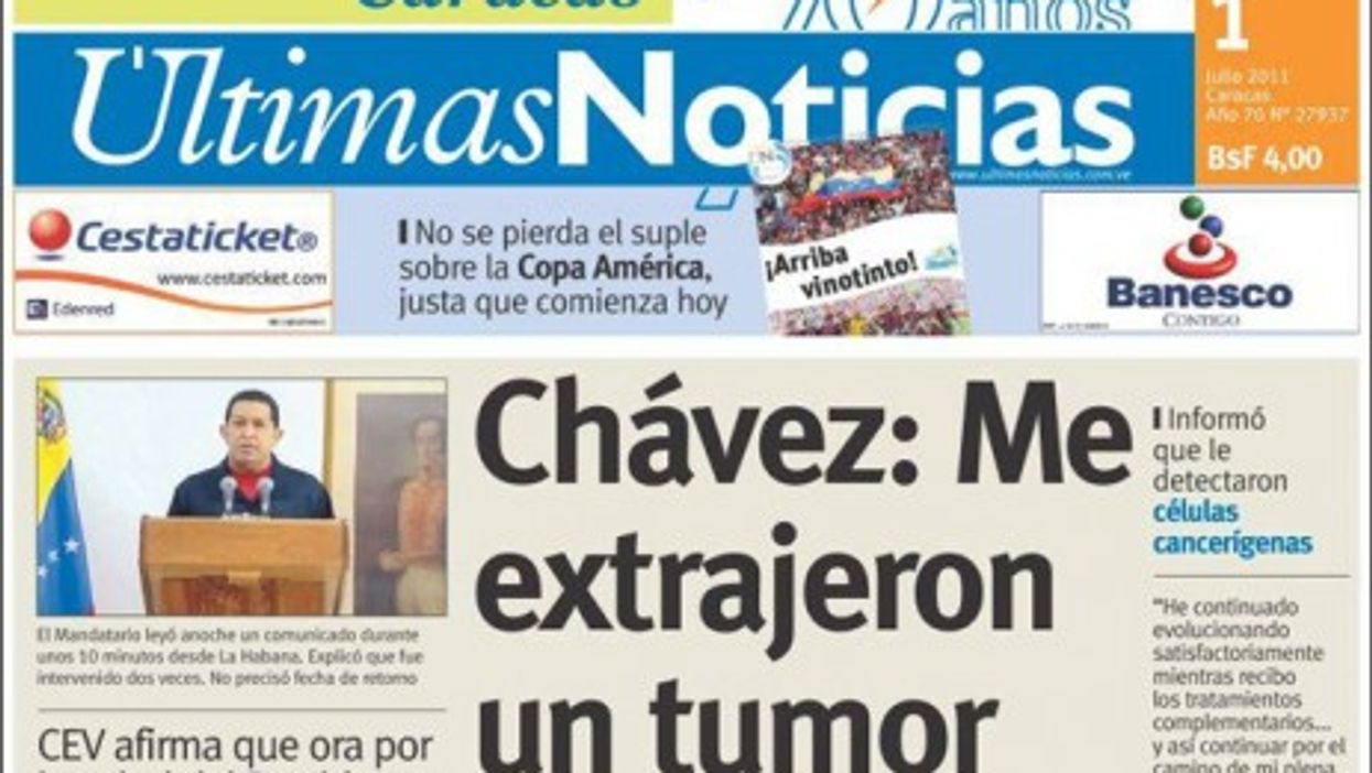 Venezuela's Ultimas Noticias reports on the unfolding story of Hugo Chavez's health