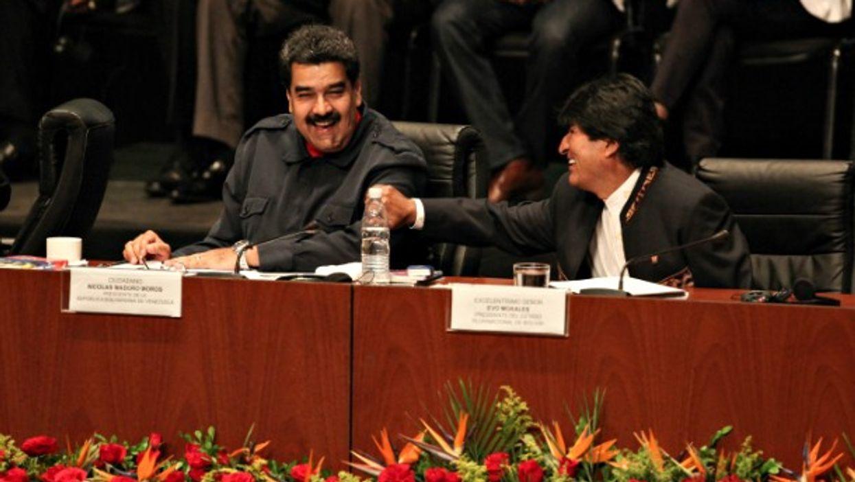 Venezuelan President Nicolas Maduro and Bolivian President Evo Morales in Caracas on March 5