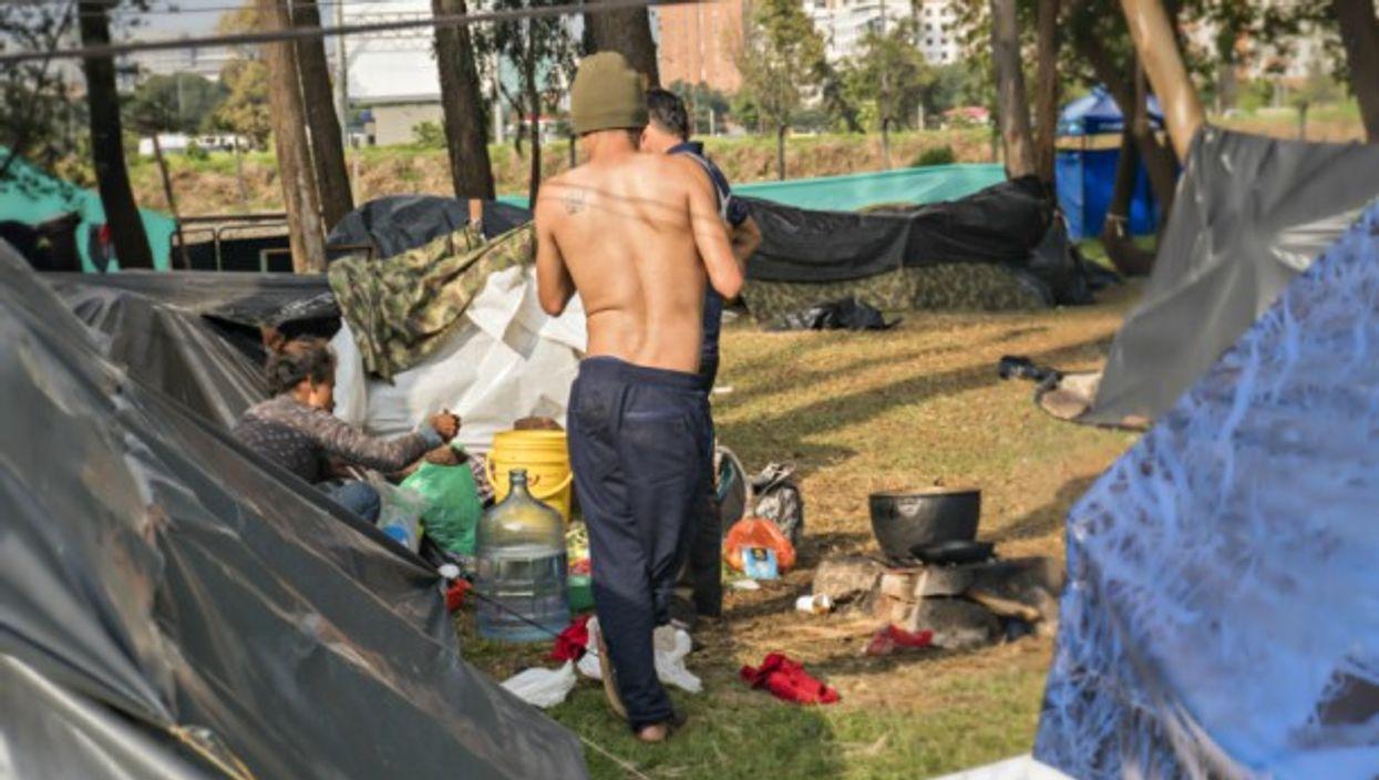 Venezuelans in a migrant camp in Bogota on Oct. 3