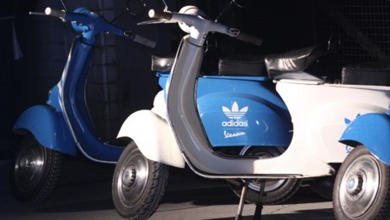 Vespa has lent its brand name to a line of Adidas sneakers