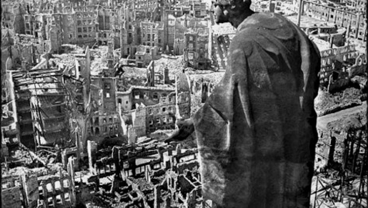View from Dresden's city hall over the destroyed city in 1945.