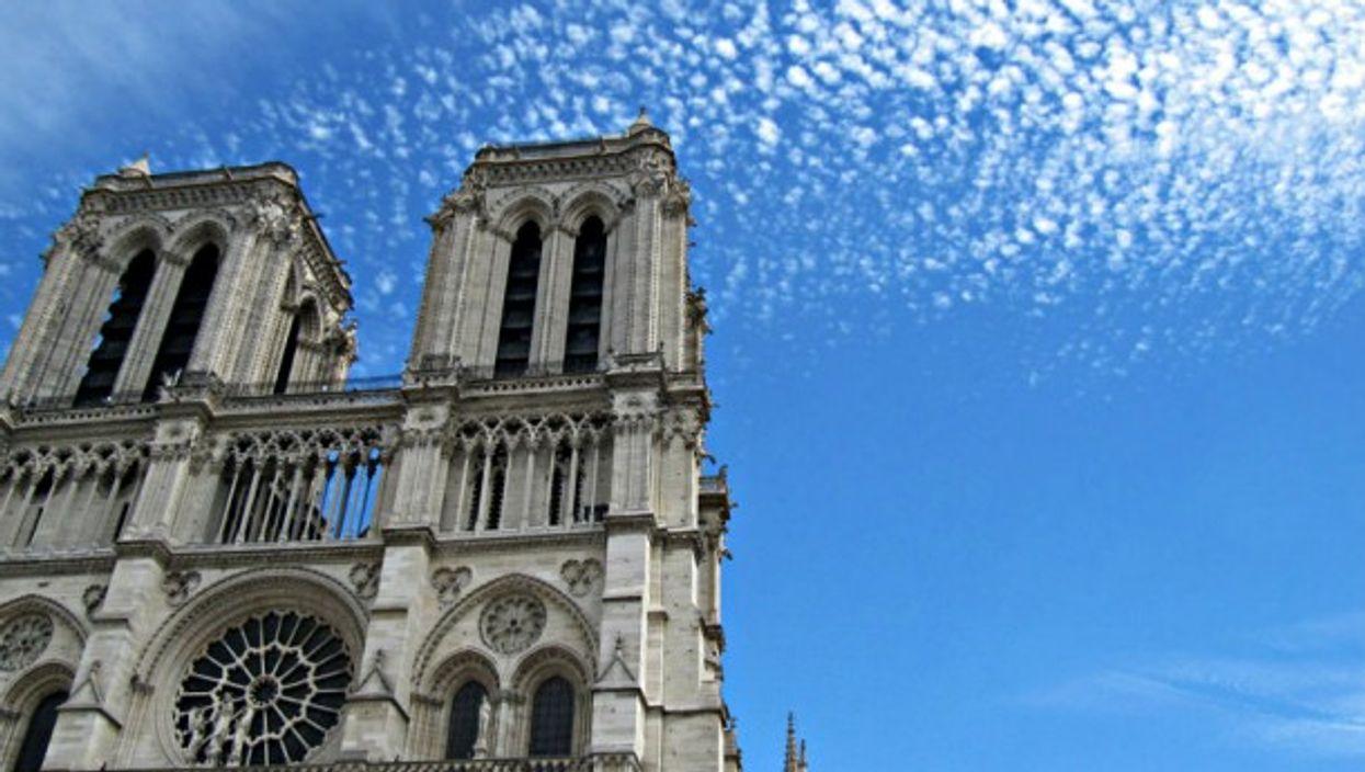 View looking up at Notre Dame de Paris from below