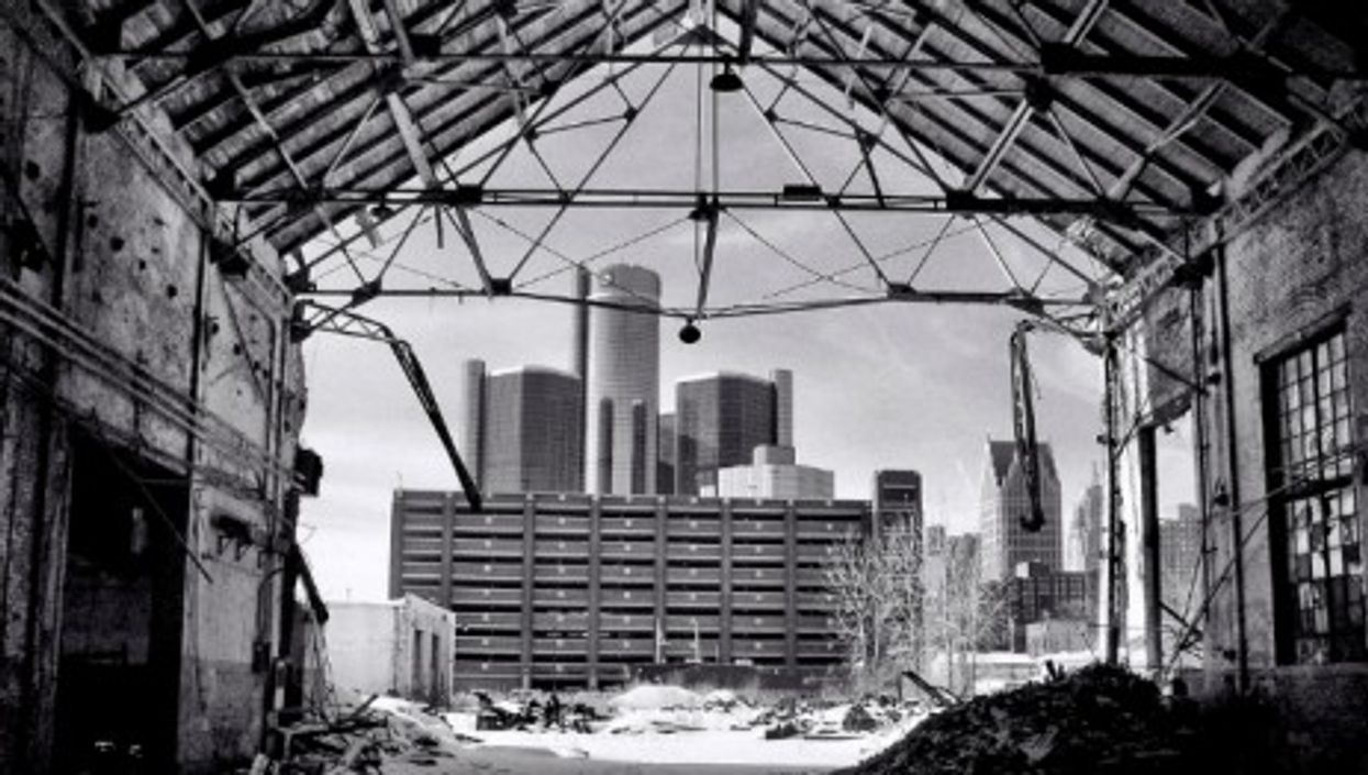 View of Detroit from an abandoned factory