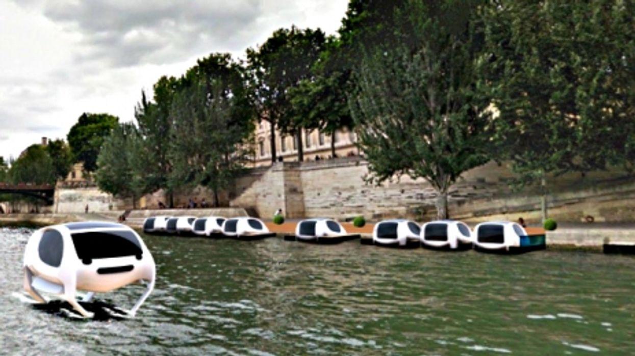 Virtual image of SeaBubbles on the Seine River