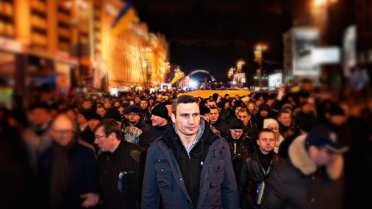 Vitali Klitschko leading a Kiev protest last month