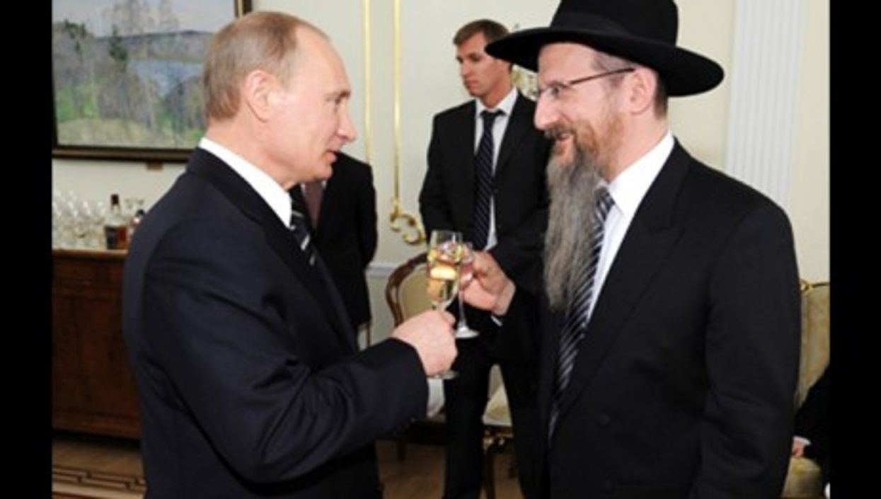 Vladimir Putin and Berel Lazar in 2012