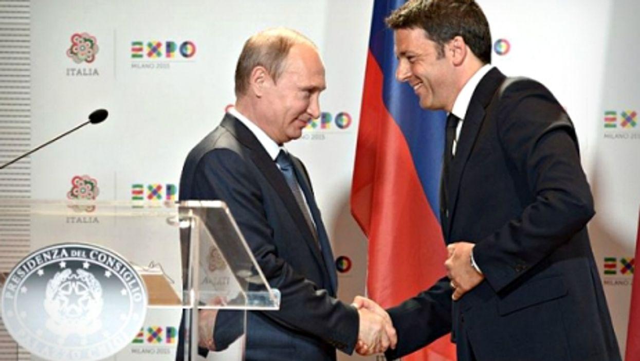 Vladimir Putin and Matteo Renzi meet at the Milan Expo on June 10