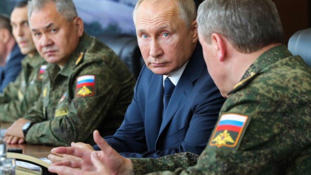Vladimir Putin at the Caucasus 2020 military drills last September