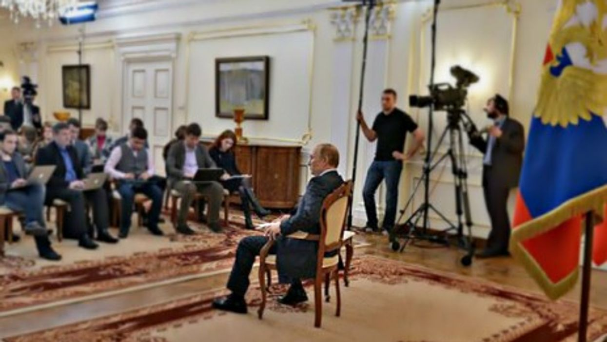 Vladimir Putin facing journalists about Ukraine in March