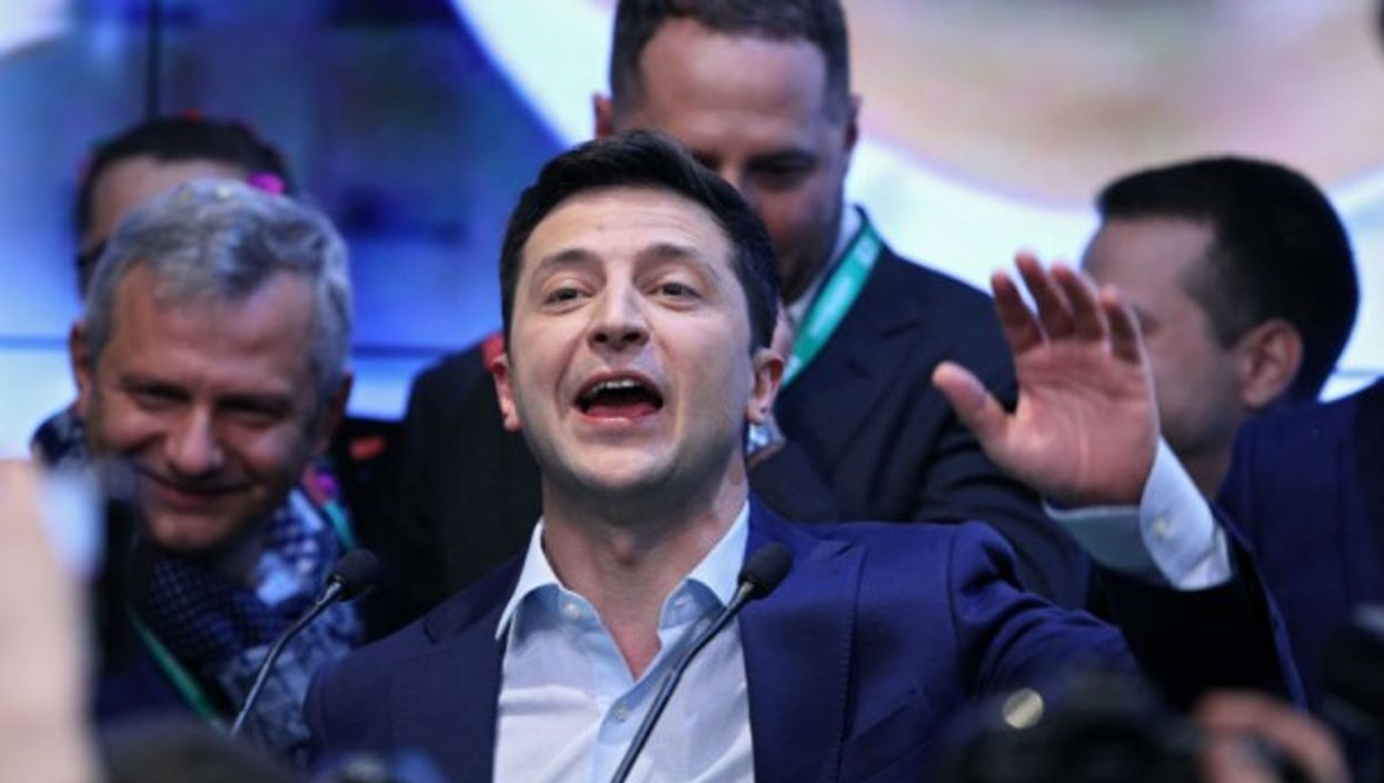 Volodymyr Zelenskiy during a press conference after his victory
