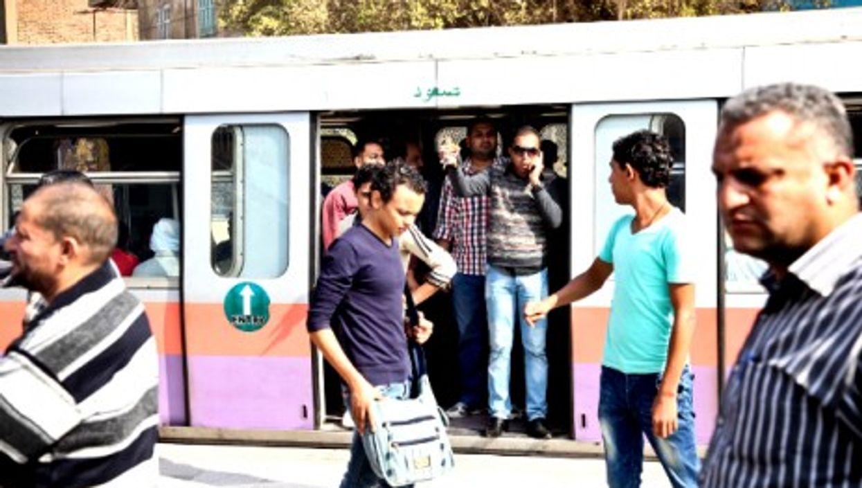 Waiting at Cairo's Shobra Al-Khaima metro station