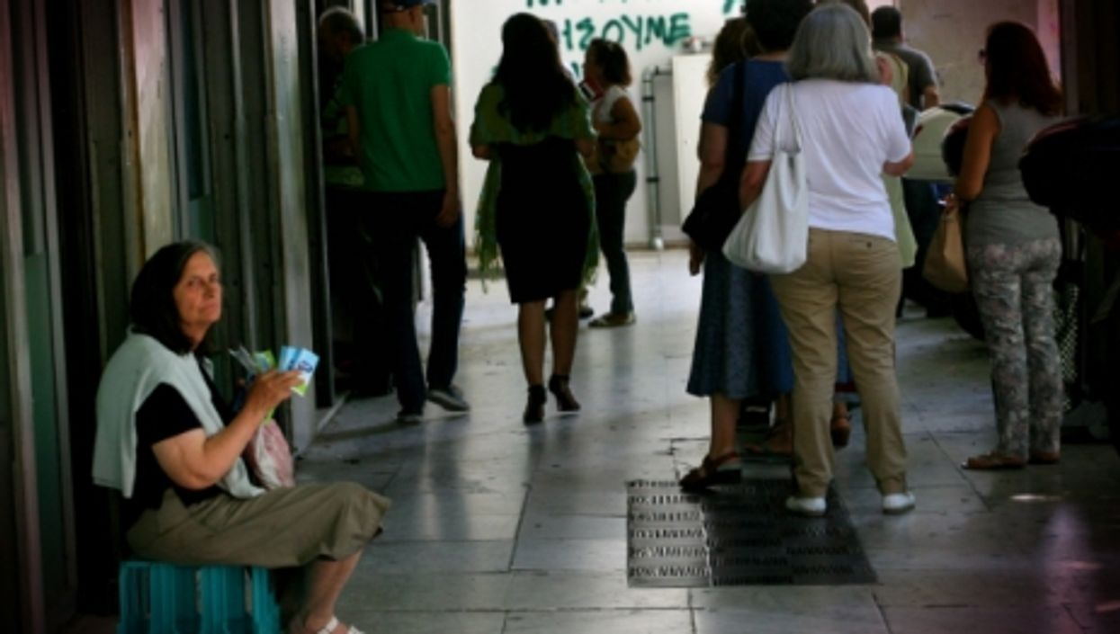 Waiting outside a bank in Athens, on July 6, 2015.