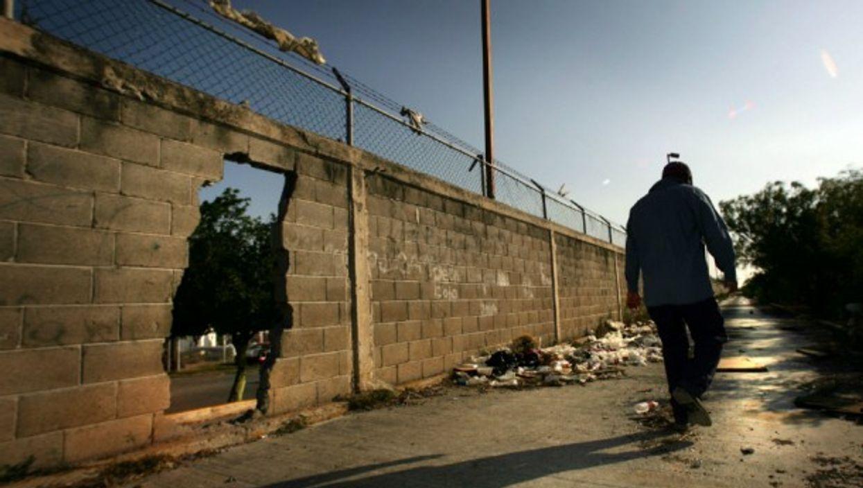 Walking along the Mexico-U.S. wall in Matamoros