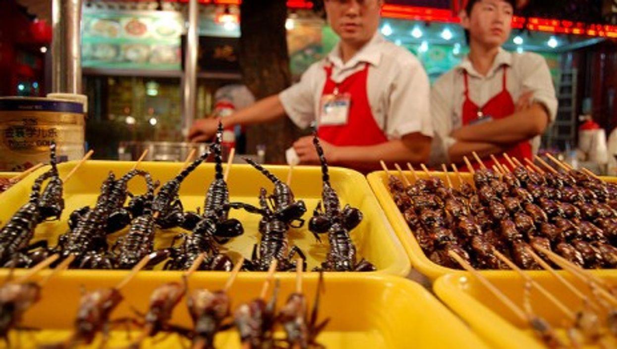 Wangfujing night market in the center of Beijing