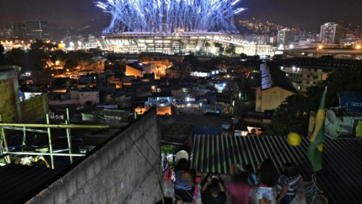 Watching fireworks in Rio's Mangueira favela during the opening ceremony of the Olympics on Aug. 7