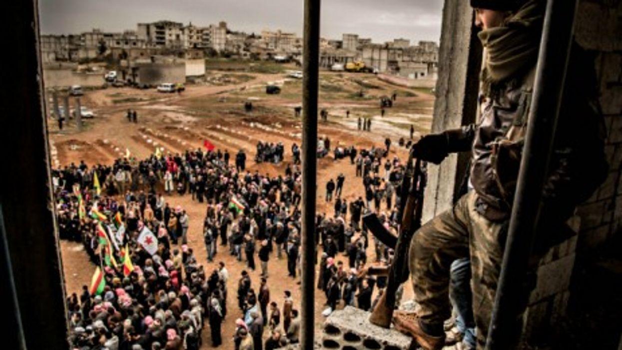 Watching over Kobane, Syria, on Feb. 15