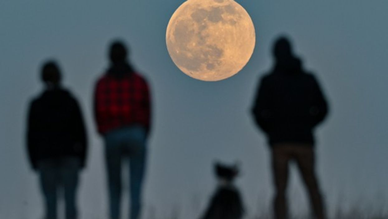 """Watching the first """"supermoon"""" (the name given to a full moon that occurs when the moon is closest to the Earth) of 2021 in Sieversdorf, Germany"""