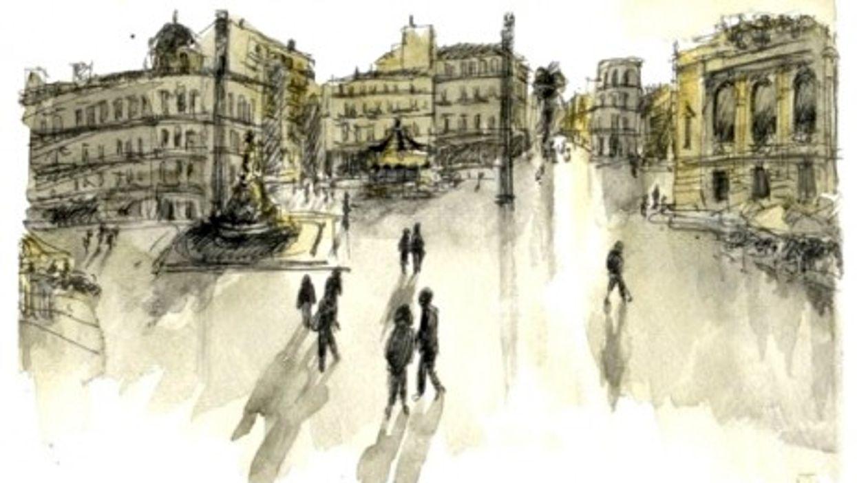 Watercolor sketch of Montpellier's Place de la Comédie