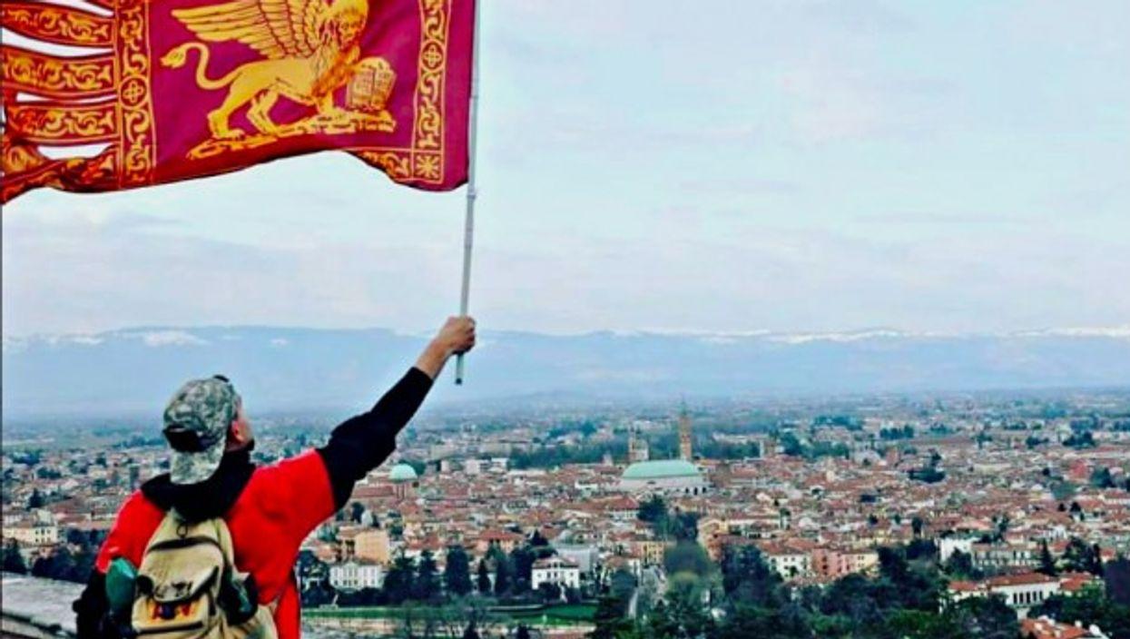 Waving the Venetan flag above the city of Vicenza