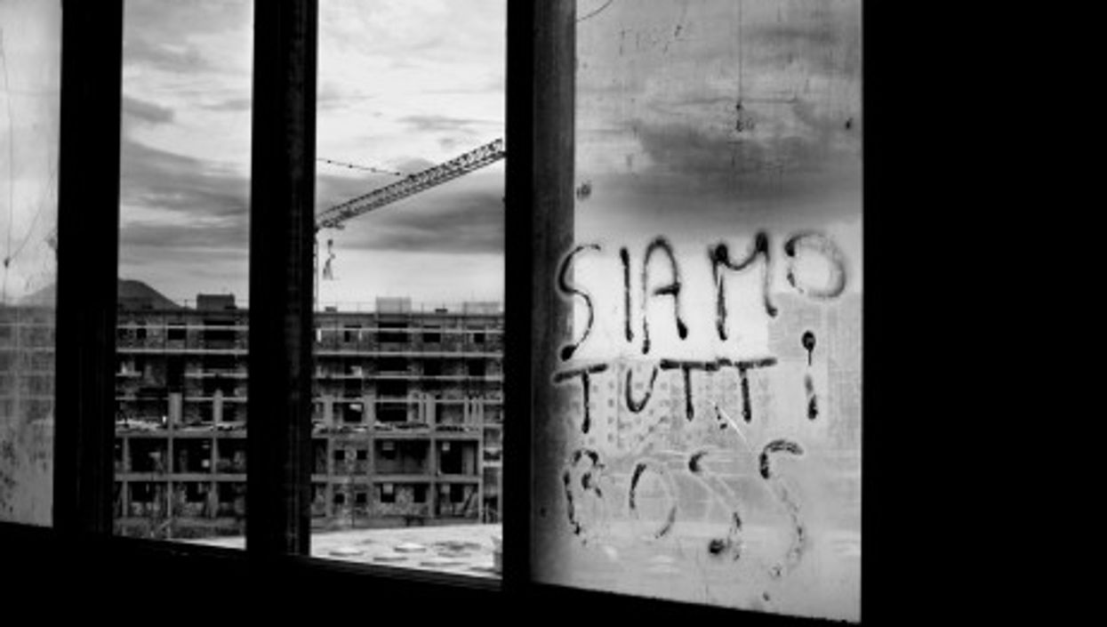 """""""We are all boss,"""" reads the graffiti in Naples' Scampia neighborhood, a Camorra stronghold"""