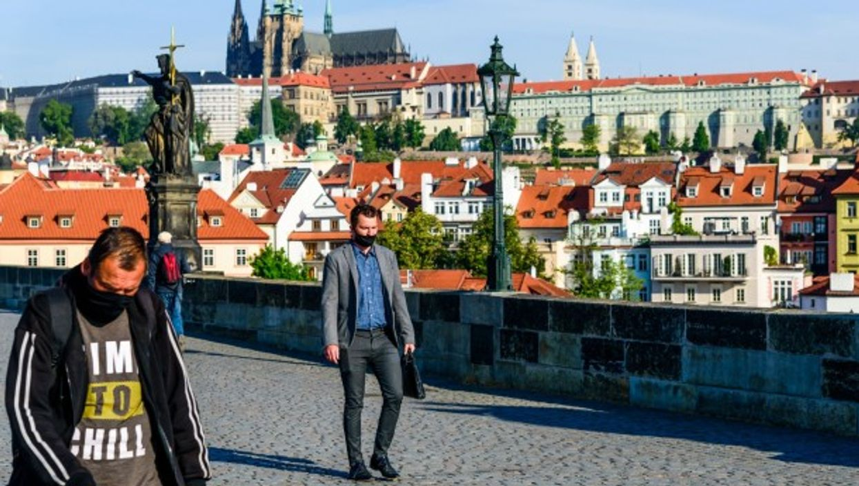 Wearing face masks in Prague