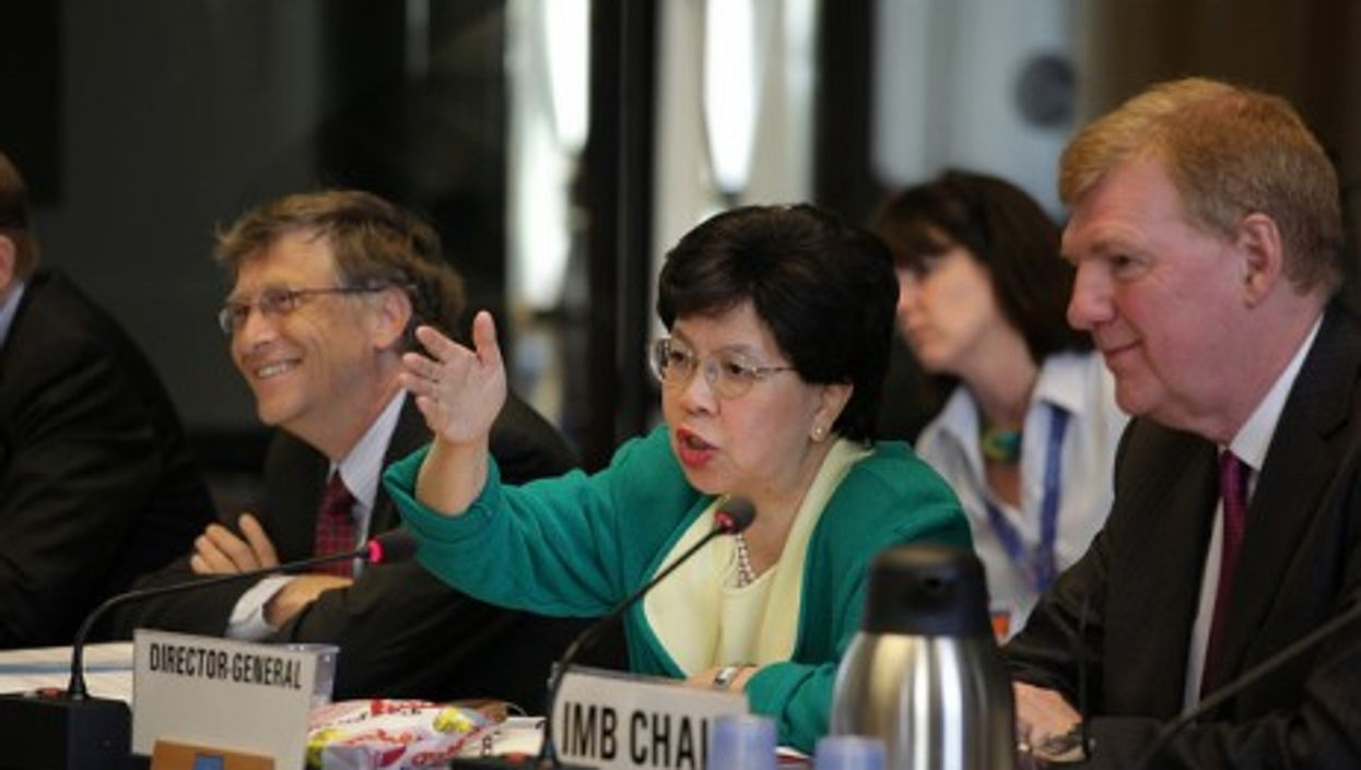 WHO Director General Margaret Chan and Bill Gates at the recent World Health Assembly