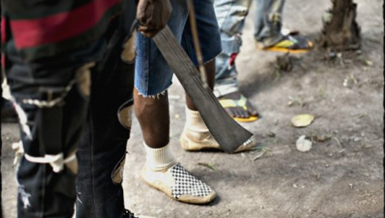 Wielding a machete in Bangui