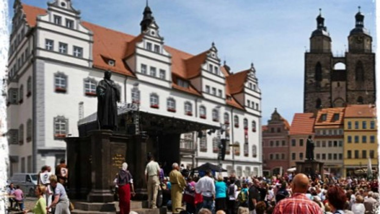 Wittenberg's Market square with the statue of Martin Luther