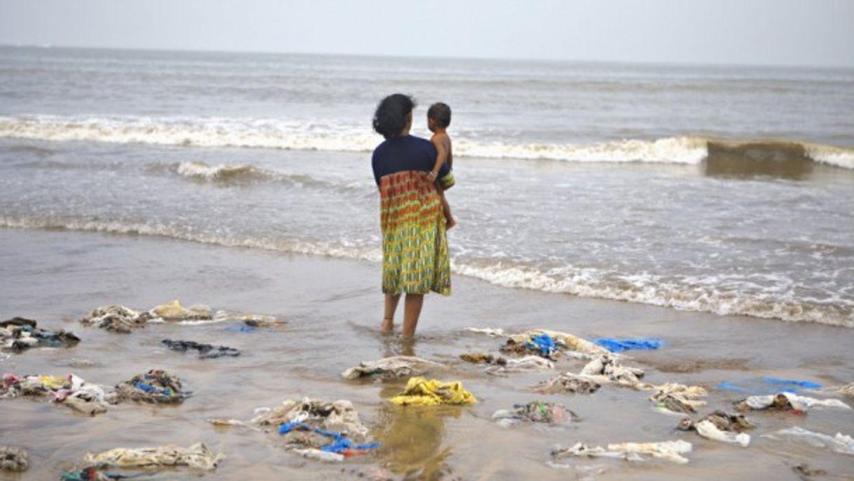 Woman and child on Juhu Beach, Mumbai, India