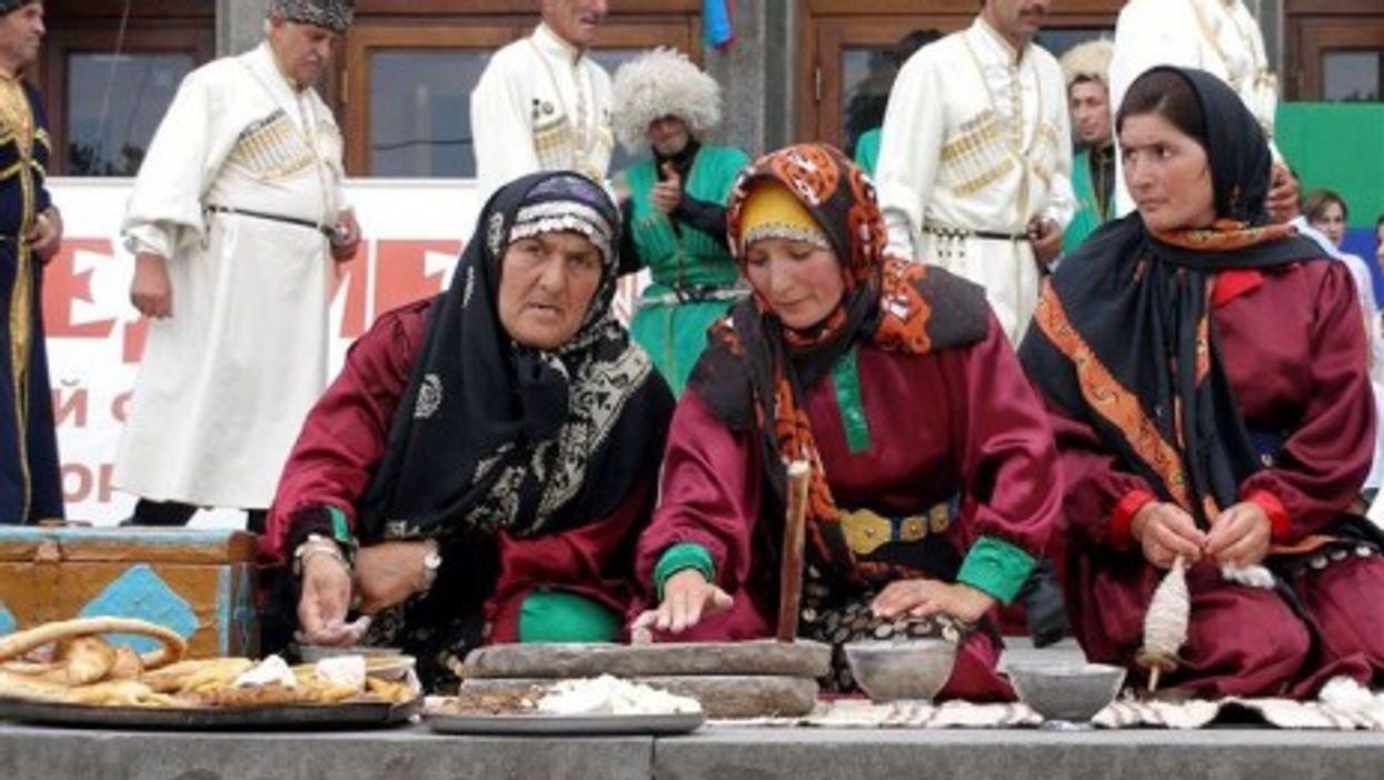Women in traditional dress in Makhachkala