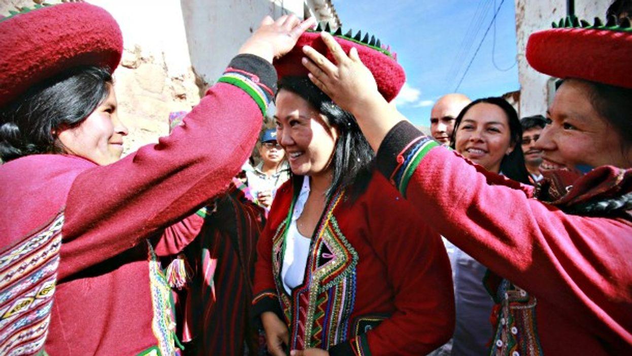 Women in traditional Inca costumes in Cuzco, Peru