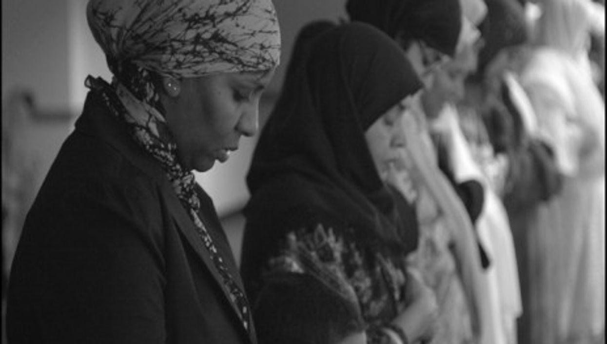 Women praying at the Islamic Society of Akron & Kent, Ohio