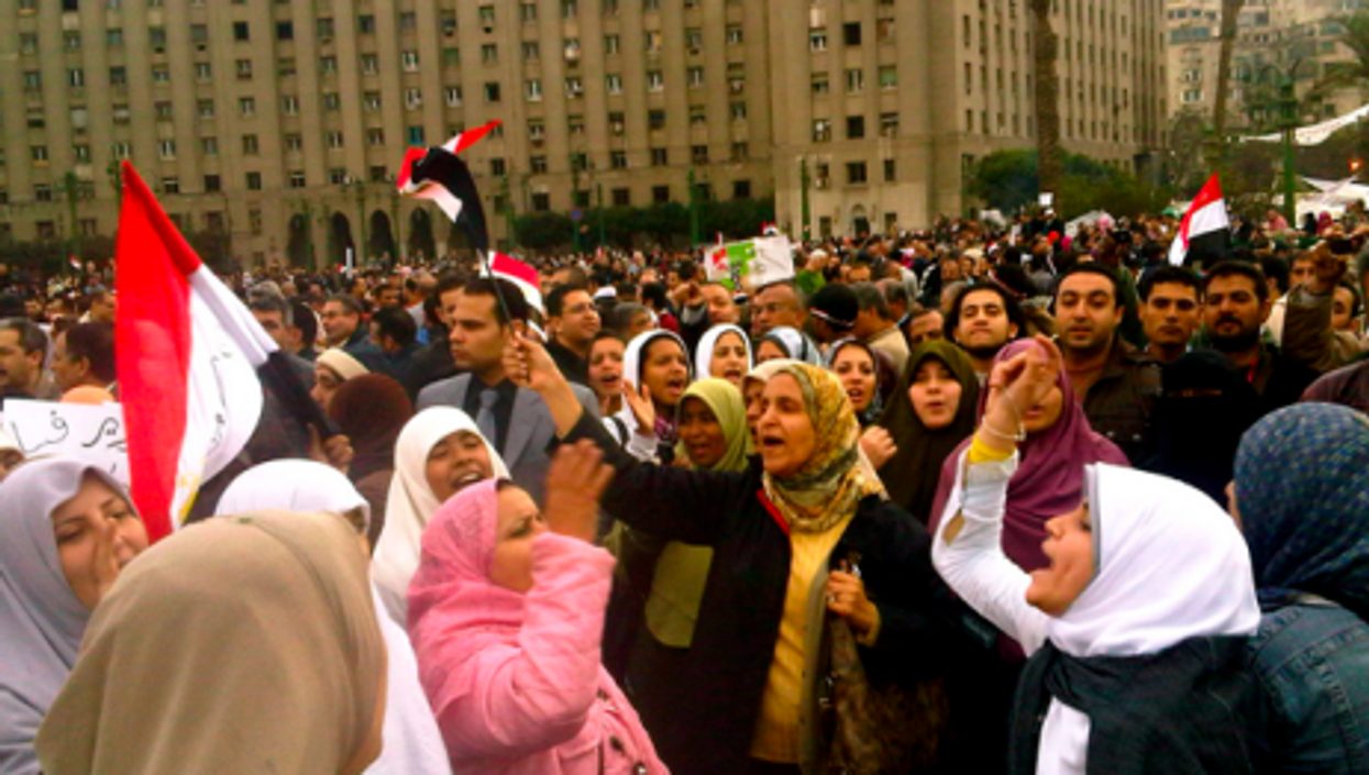Women protesters in Tahrir Square (Al Jazeera English)